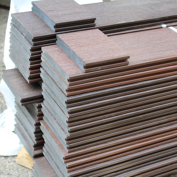 Square image of stacked composite decking