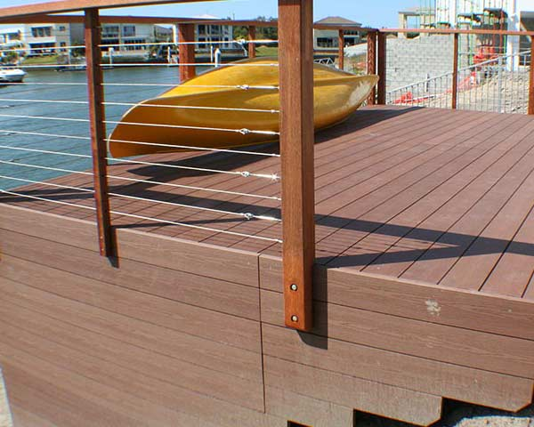 WPC decking on the Gold Coast with fascia waterside